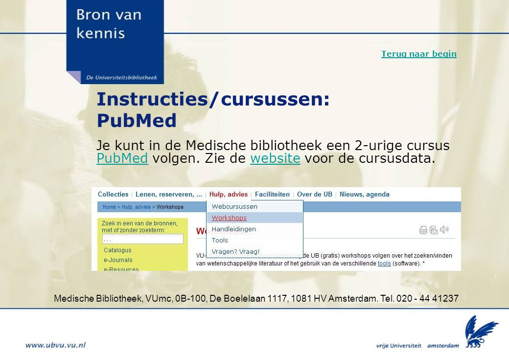 Instructies/cursussen: PubMed