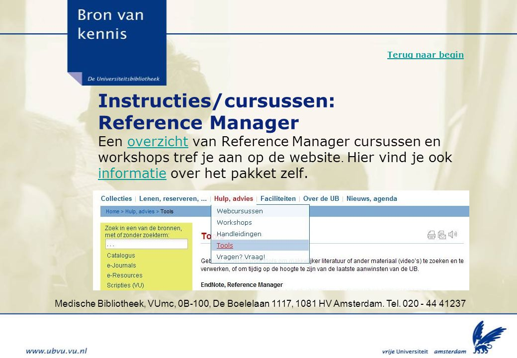 Instructies/cursussen: Reference Manager