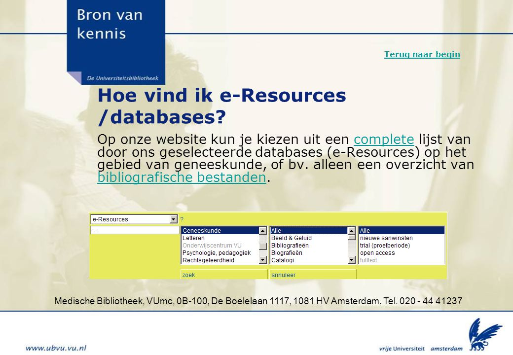 Hoe vind ik e-Resources /databases