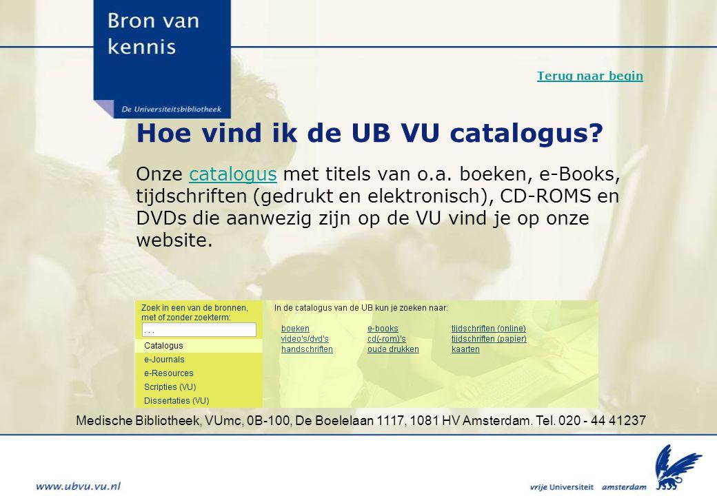 Hoe vind ik de UB VU catalogus