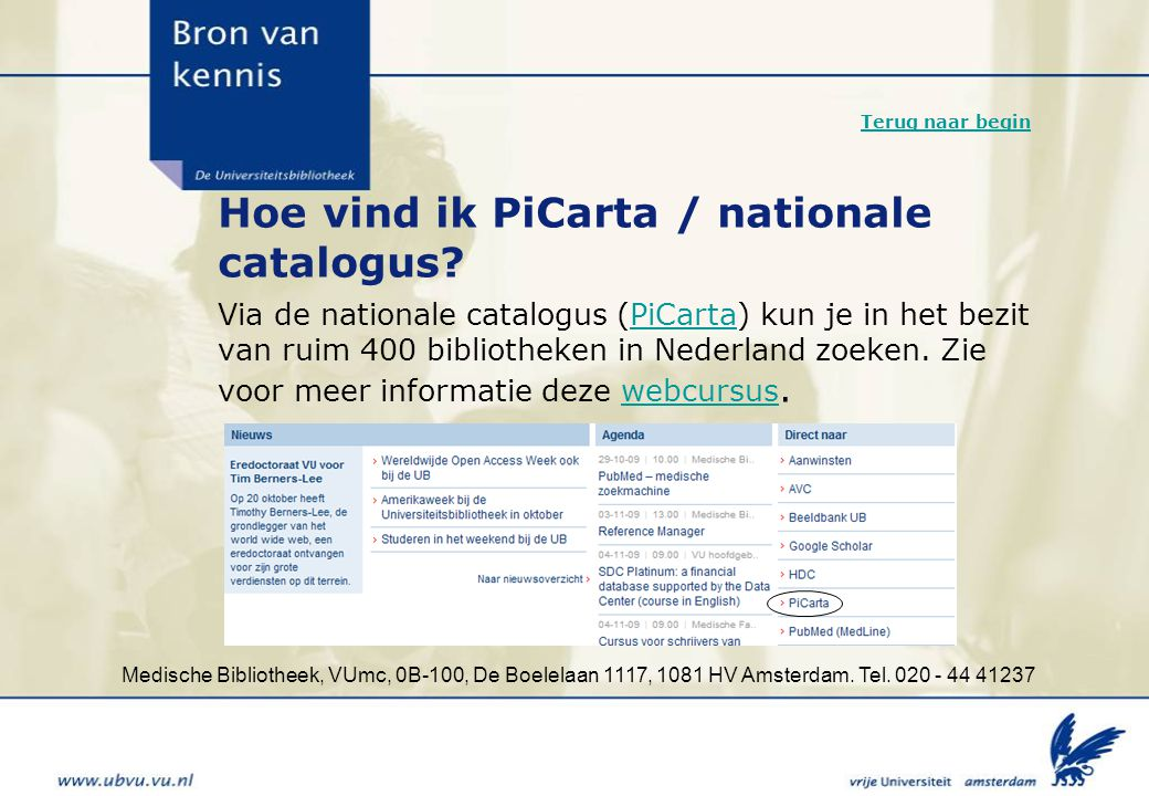 Hoe vind ik PiCarta / nationale catalogus