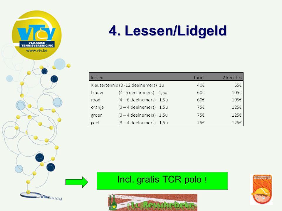 4. Lessen/Lidgeld Incl. gratis TCR polo !