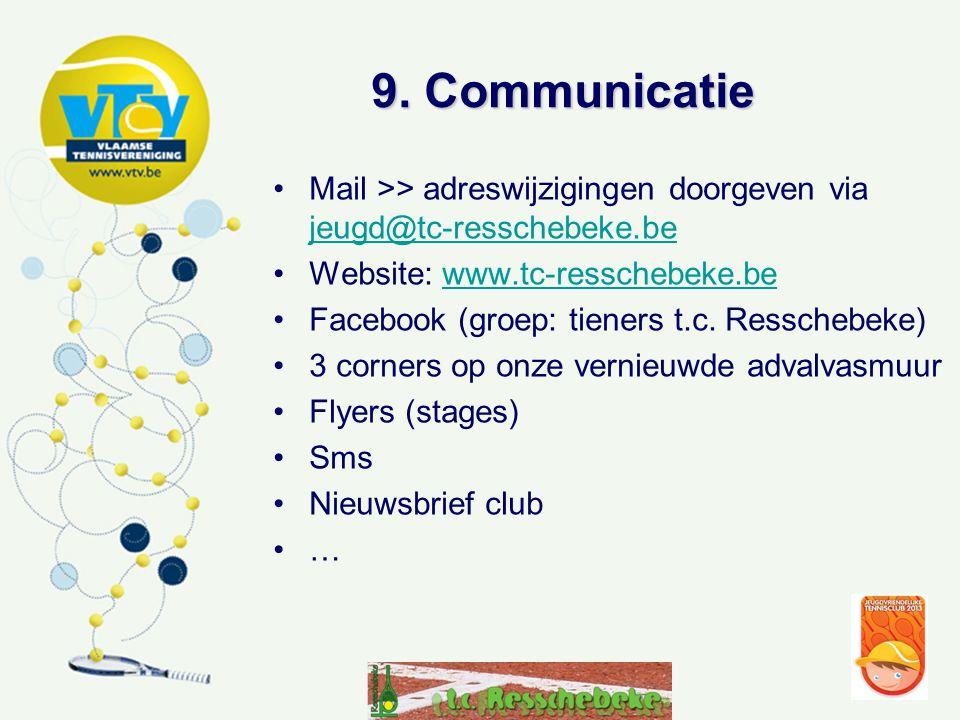 9. Communicatie Mail >> adreswijzigingen doorgeven via jeugd@tc-resschebeke.be. Website: www.tc-resschebeke.be.