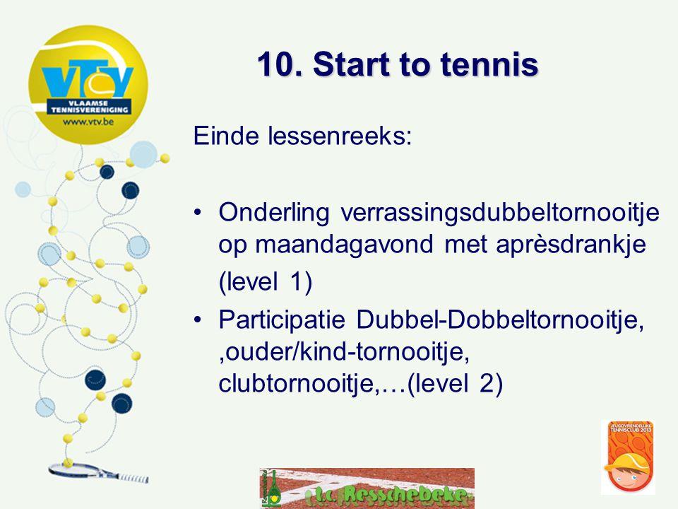 10. Start to tennis Einde lessenreeks:
