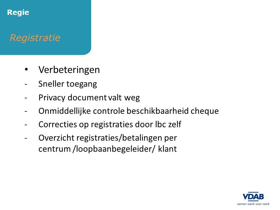 Verbeteringen Registratie Sneller toegang Privacy document valt weg
