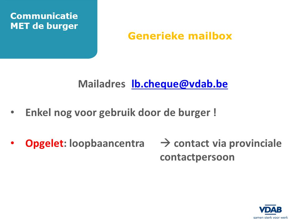 Communicatie MET de burger