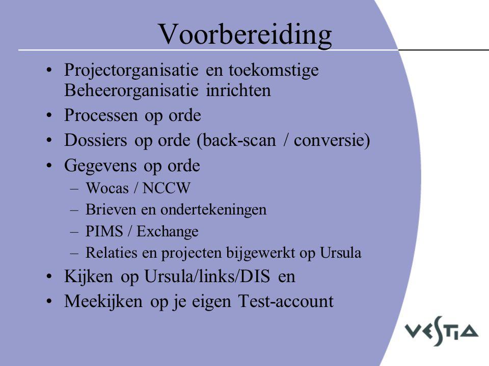Voorbereiding Projectorganisatie en toekomstige Beheerorganisatie inrichten. Processen op orde. Dossiers op orde (back-scan / conversie)