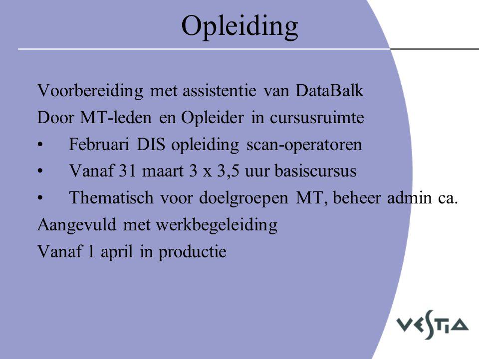 Opleiding Voorbereiding met assistentie van DataBalk