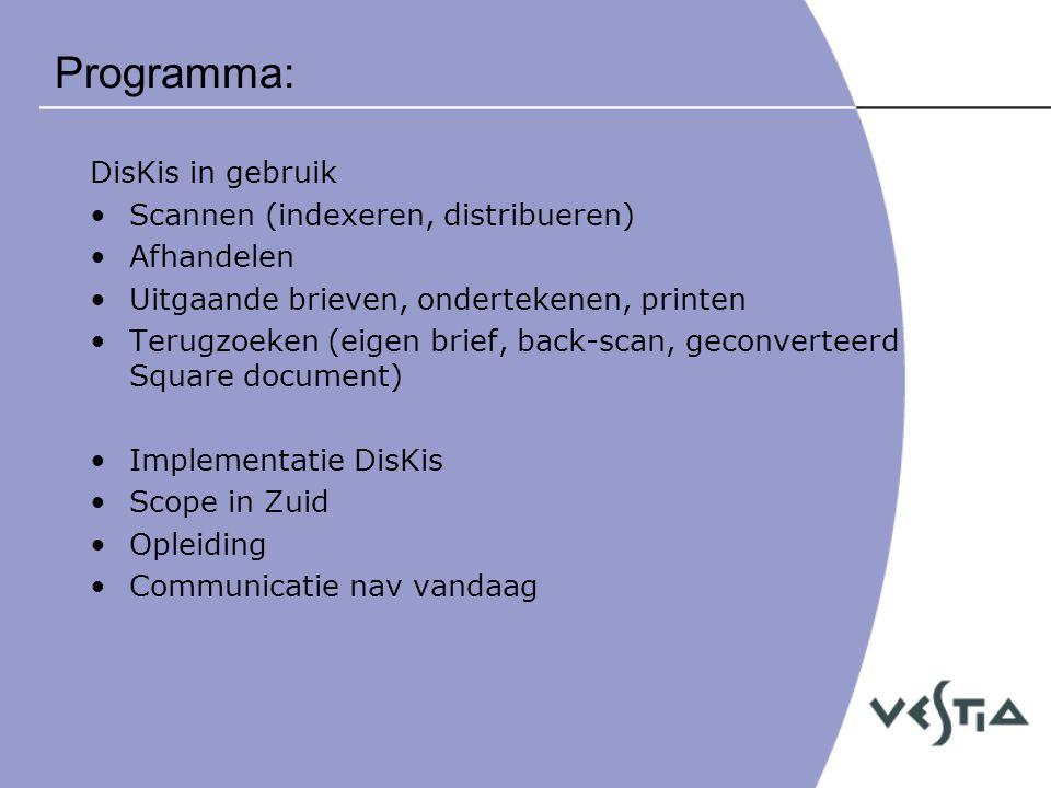 Programma: DisKis in gebruik Scannen (indexeren, distribueren)