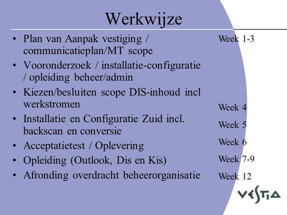 Werkwijze Plan van Aanpak vestiging / communicatieplan/MT scope