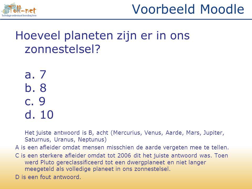 Voorbeeld Moodle Hoeveel planeten zijn er in ons zonnestelsel