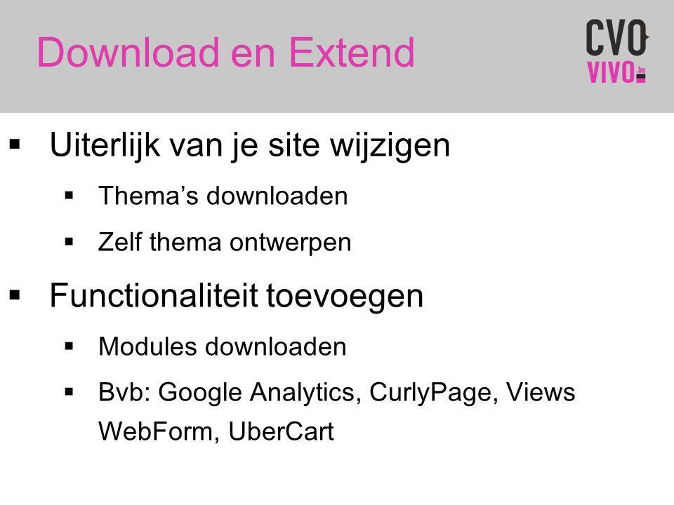 Download en Extend Uiterlijk van je site wijzigen