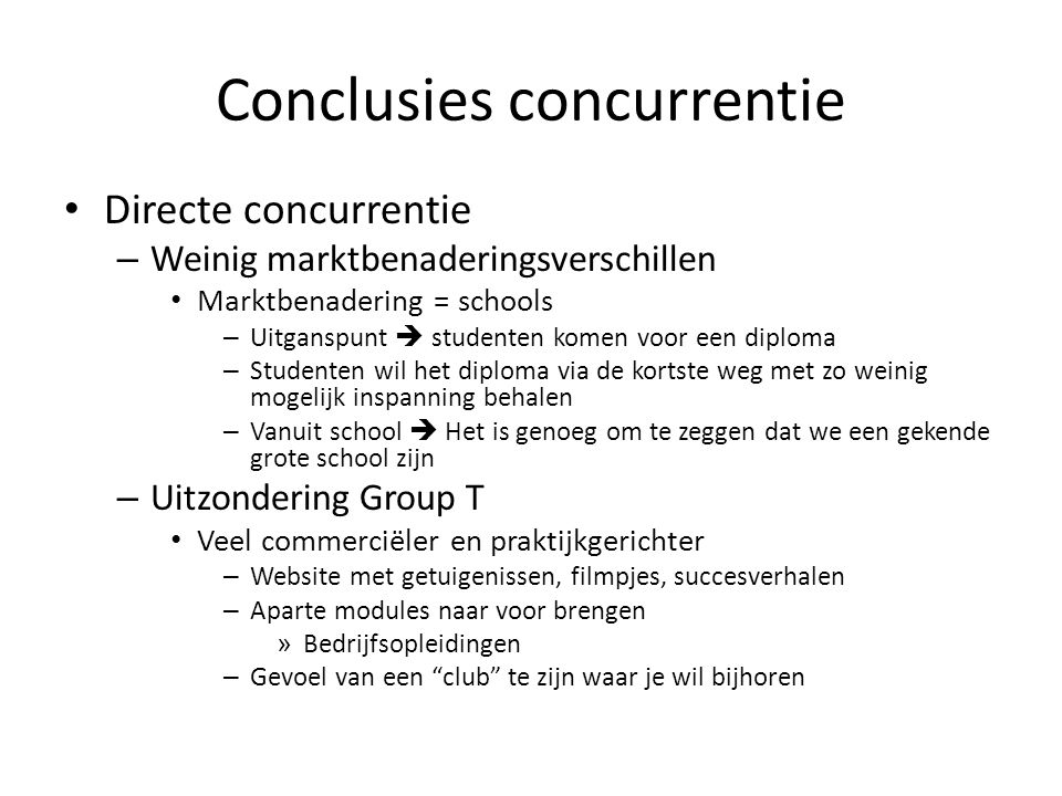 Conclusies concurrentie