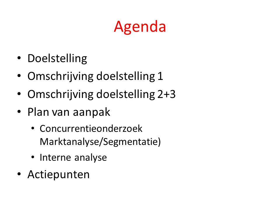 Agenda Doelstelling Omschrijving doelstelling 1