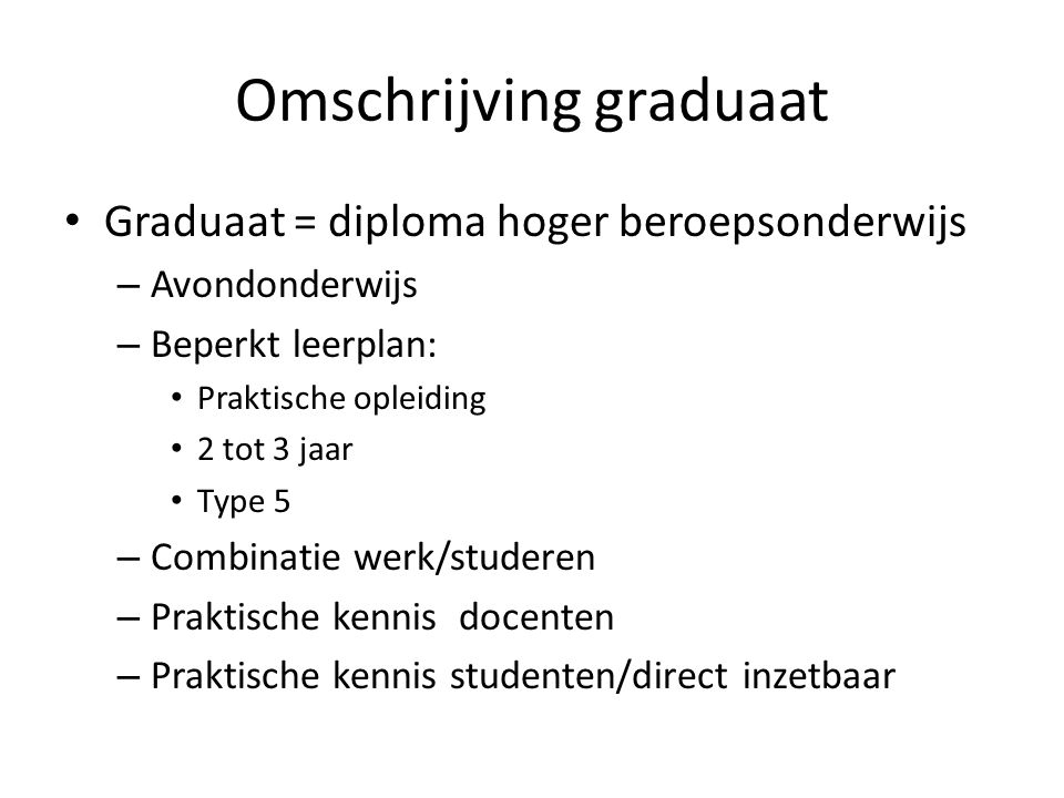 Omschrijving graduaat