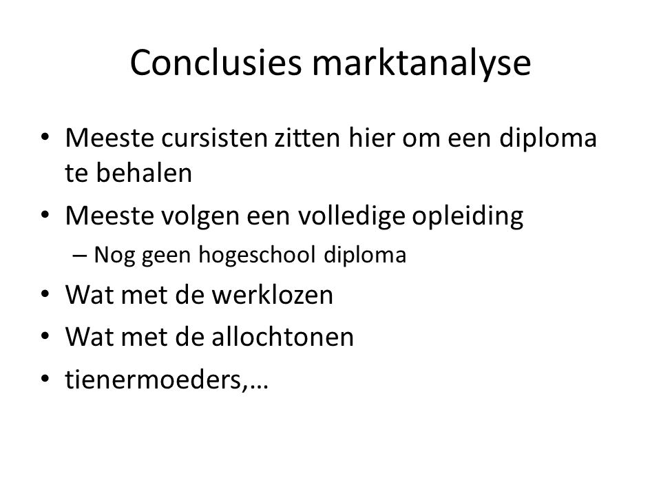Conclusies marktanalyse