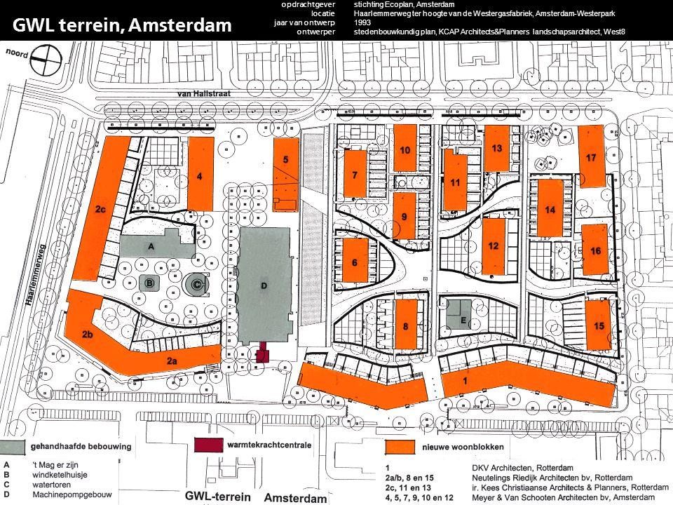 GWL terrein, Amsterdam opdrachtgever locatie jaar van ontwerp