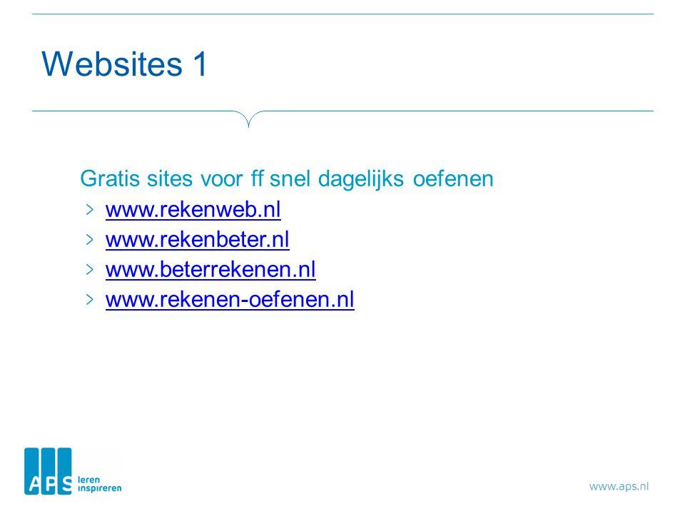 Websites 1 Gratis sites voor ff snel dagelijks oefenen www.rekenweb.nl