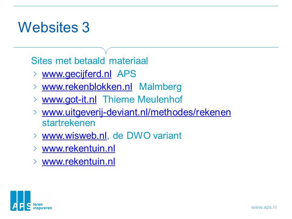 Websites 3 Sites met betaald materiaal www.gecijferd.nl APS