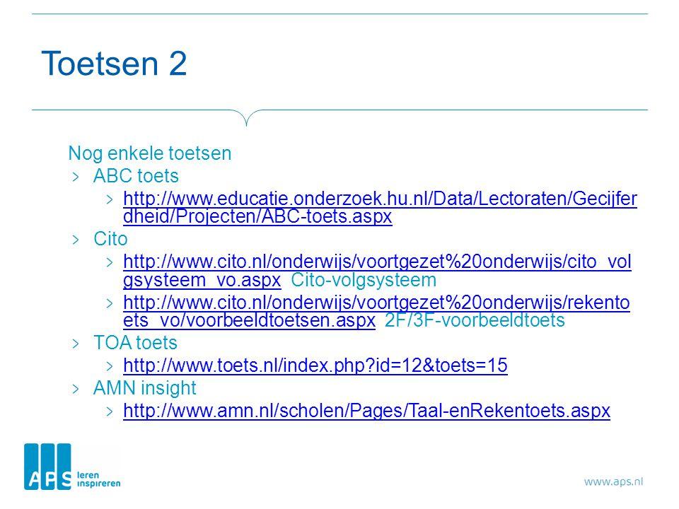 Toetsen 2 Nog enkele toetsen ABC toets