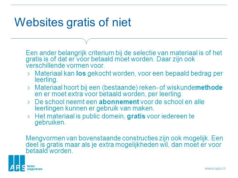 Websites gratis of niet