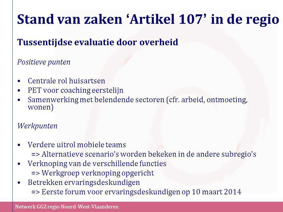 Stand van zaken 'Artikel 107' in de regio