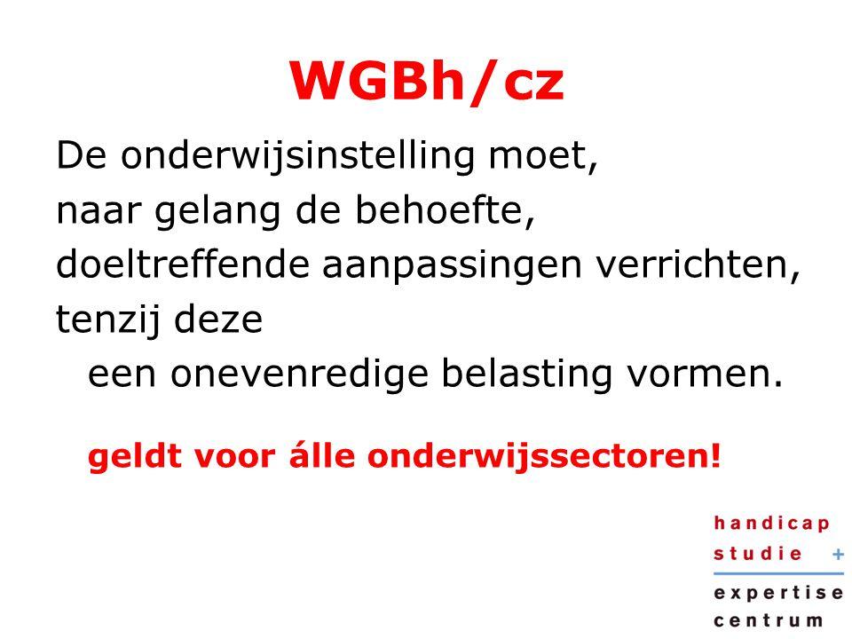 WGBh/cz De onderwijsinstelling moet, naar gelang de behoefte,