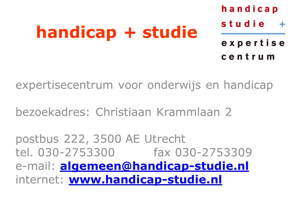 handicap + studie expertisecentrum voor onderwijs en handicap