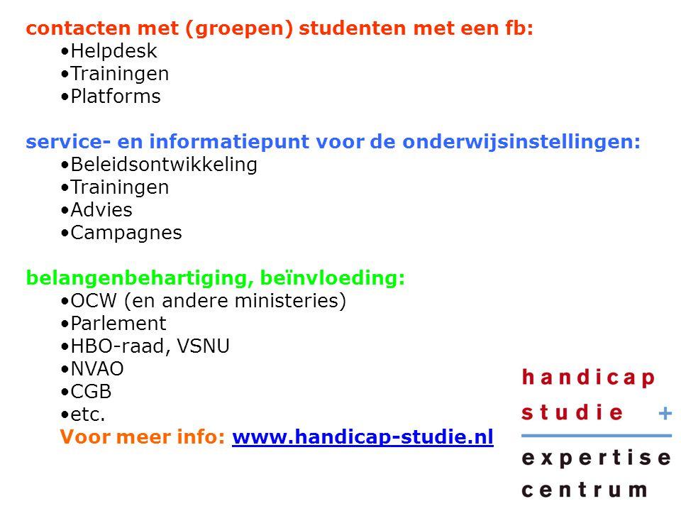 contacten met (groepen) studenten met een fb: