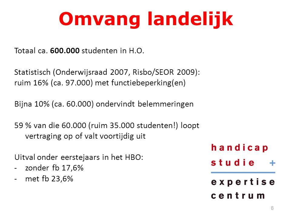Omvang landelijk Totaal ca. 600.000 studenten in H.O.