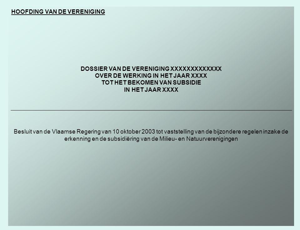 HOOFDING VAN DE VERENIGING