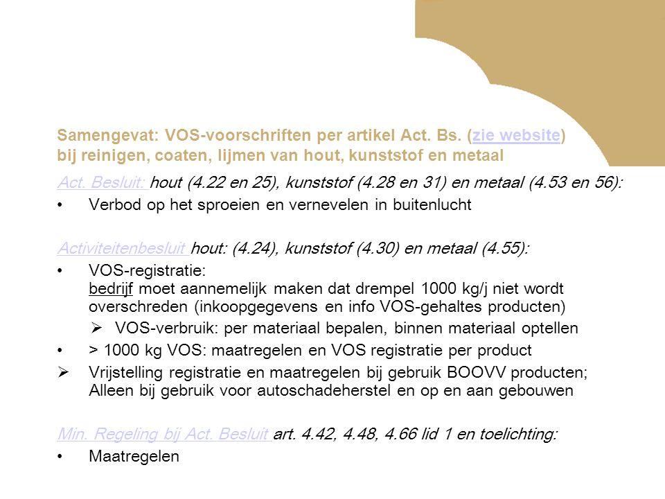 Samengevat: VOS-voorschriften per artikel Act. Bs