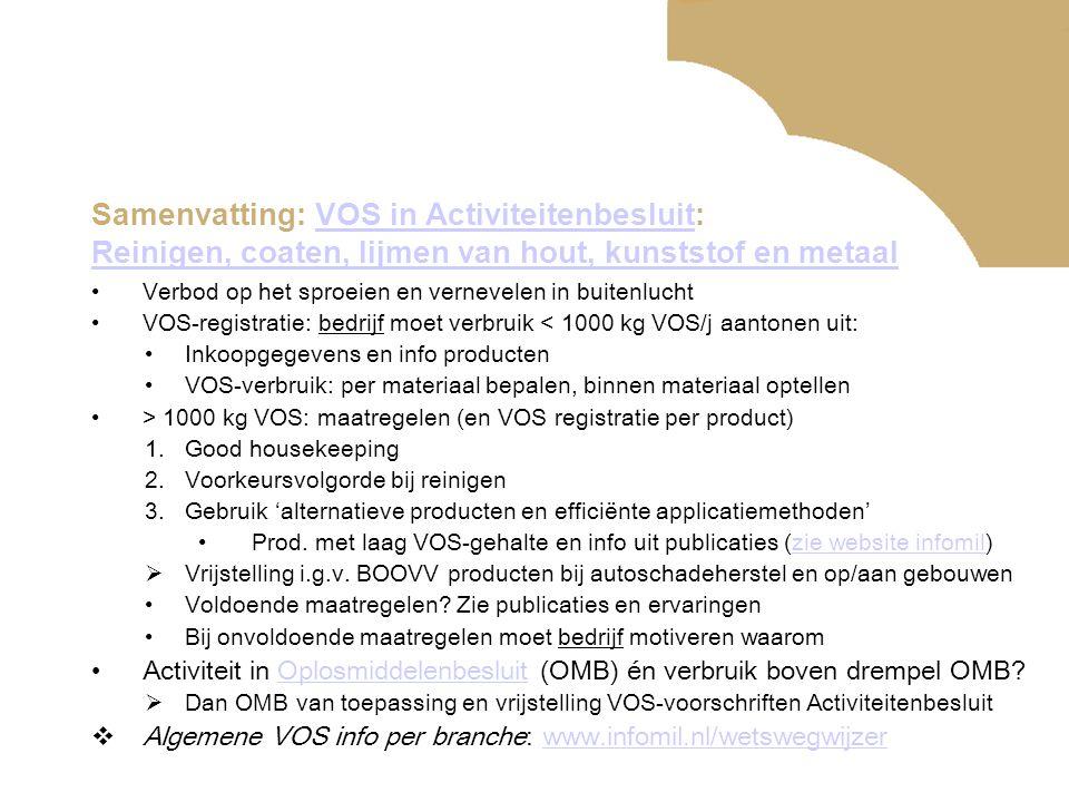 Samenvatting: VOS in Activiteitenbesluit: Reinigen, coaten, lijmen van hout, kunststof en metaal