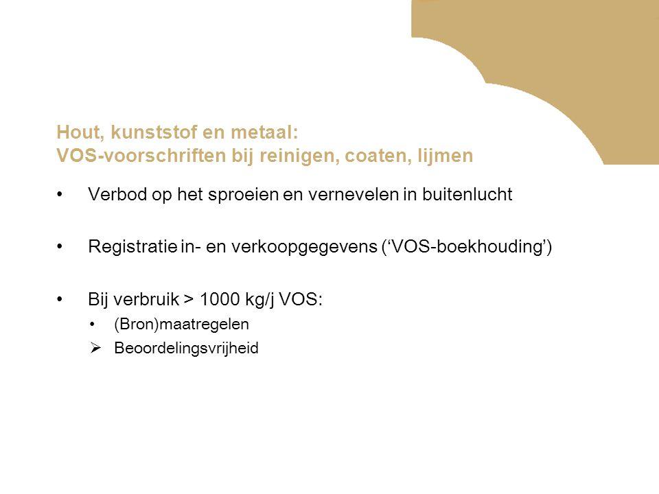 Hout, kunststof en metaal: VOS-voorschriften bij reinigen, coaten, lijmen