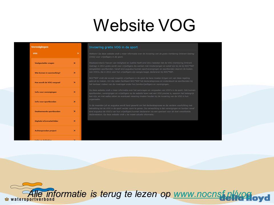 Website VOG Alle informatie is terug te lezen op www.nocnsf.nl/vog