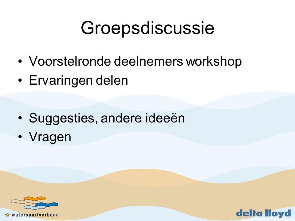 Groepsdiscussie Voorstelronde deelnemers workshop Ervaringen delen