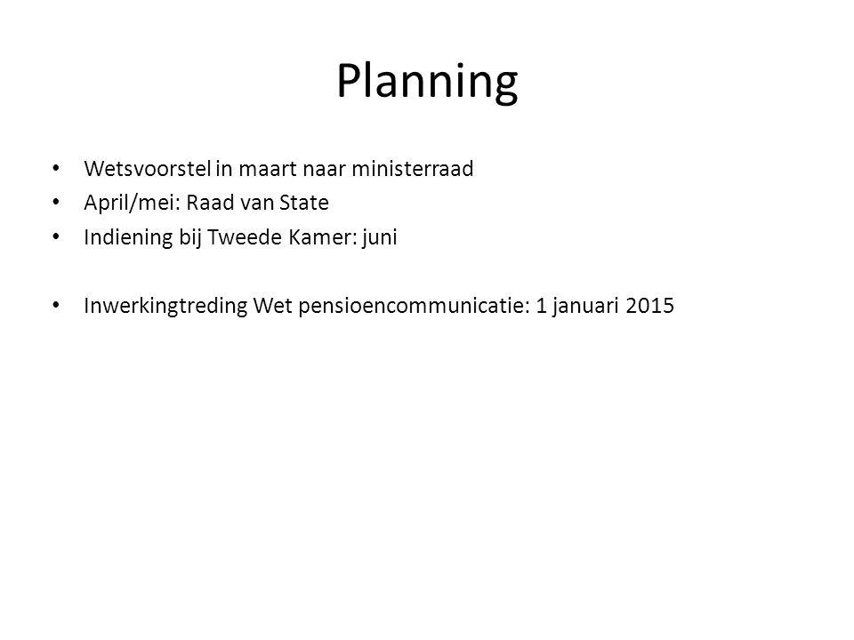 Planning Wetsvoorstel in maart naar ministerraad