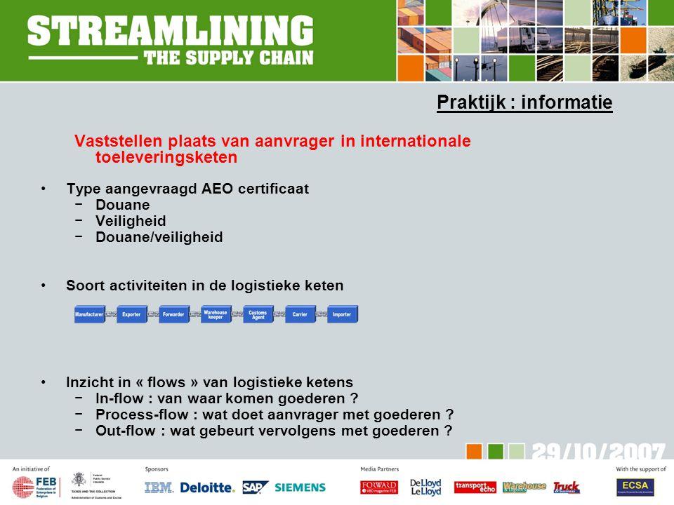 Praktijk : informatie Vaststellen plaats van aanvrager in internationale toeleveringsketen. Type aangevraagd AEO certificaat.