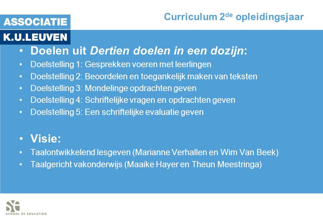 Curriculum 2de opleidingsjaar