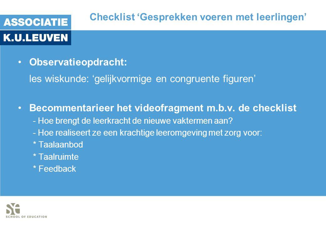 Checklist 'Gesprekken voeren met leerlingen'