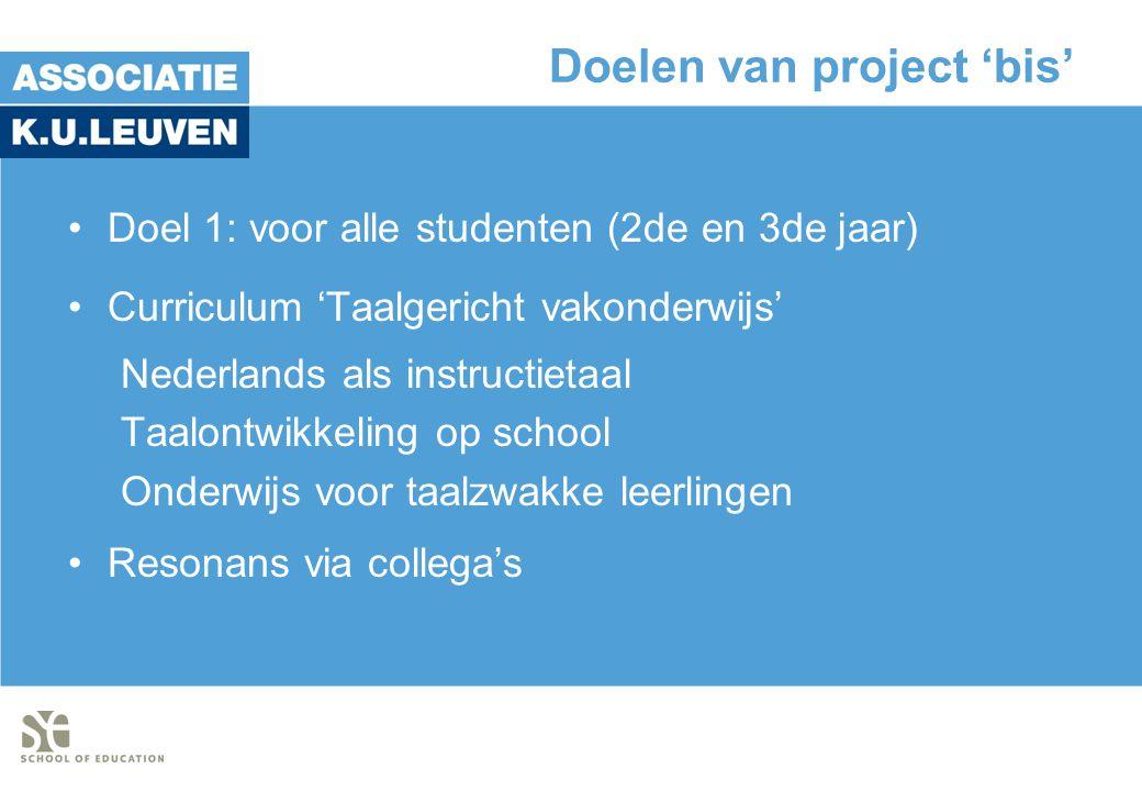 Doelen van project 'bis'