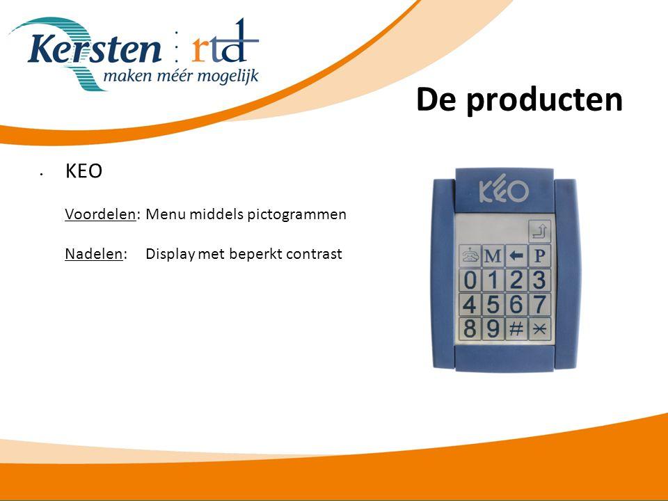 De producten KEO Voordelen: Menu middels pictogrammen Nadelen: Display met beperkt contrast.