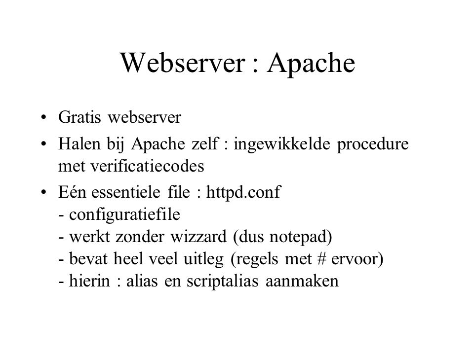 Webserver : Apache Gratis webserver