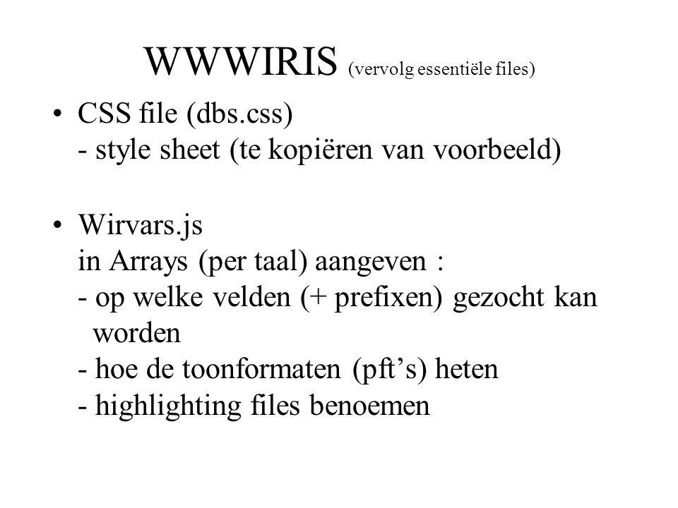 WWWIRIS (vervolg essentiële files)