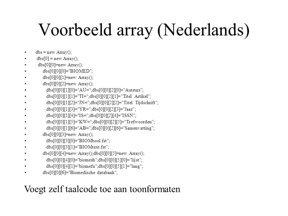 Voorbeeld array (Nederlands)