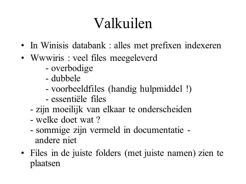Valkuilen In Winisis databank : alles met prefixen indexeren