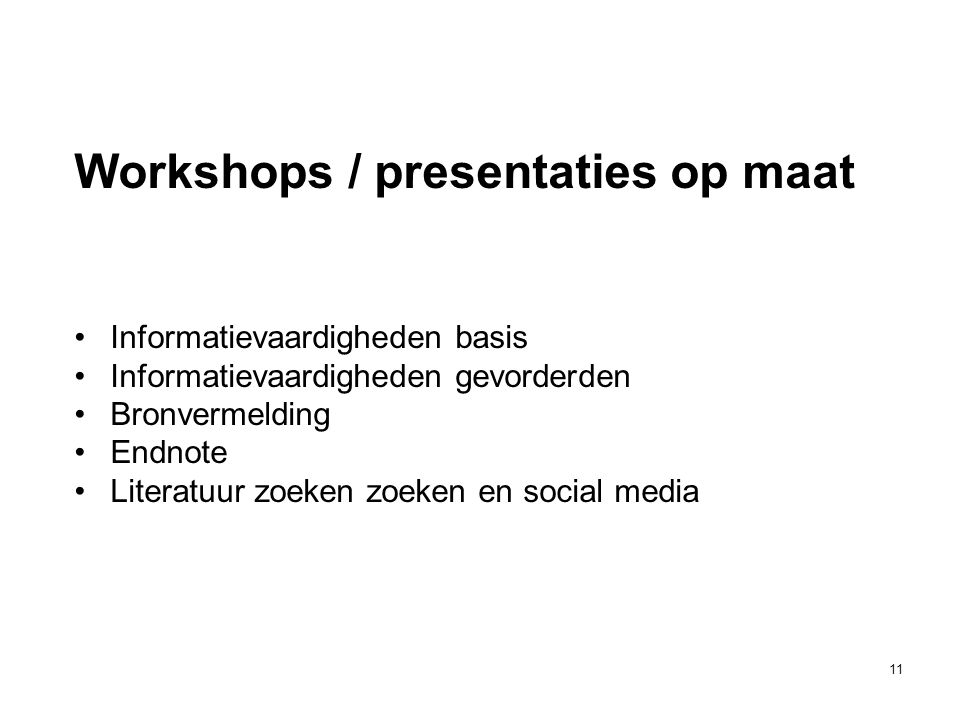 Workshops / presentaties op maat