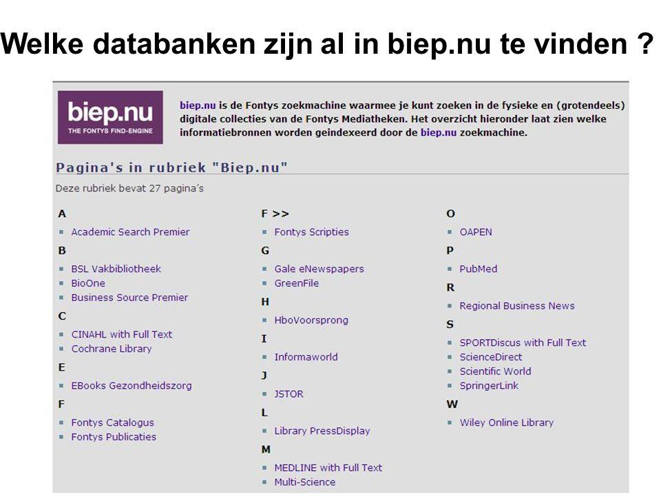 Welke databanken zijn al in biep.nu te vinden