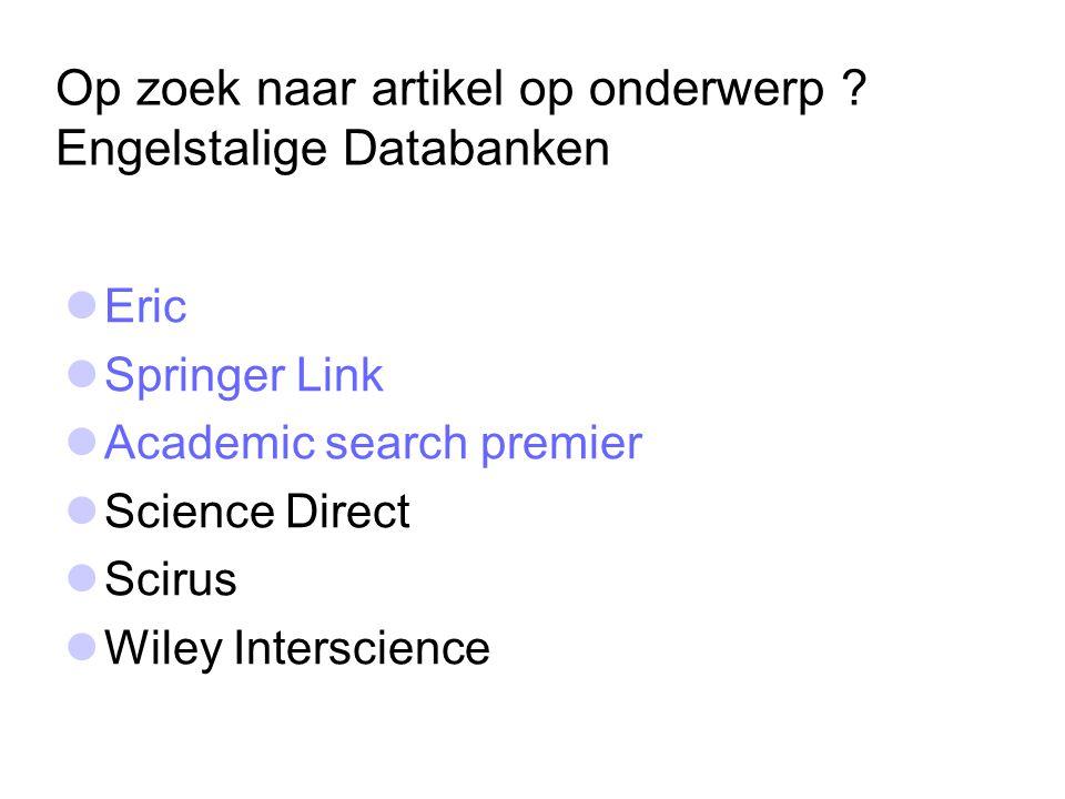Op zoek naar artikel op onderwerp Engelstalige Databanken