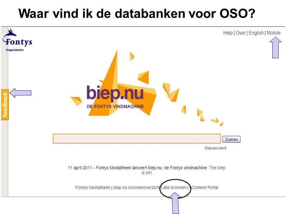 Waar vind ik de databanken voor OSO